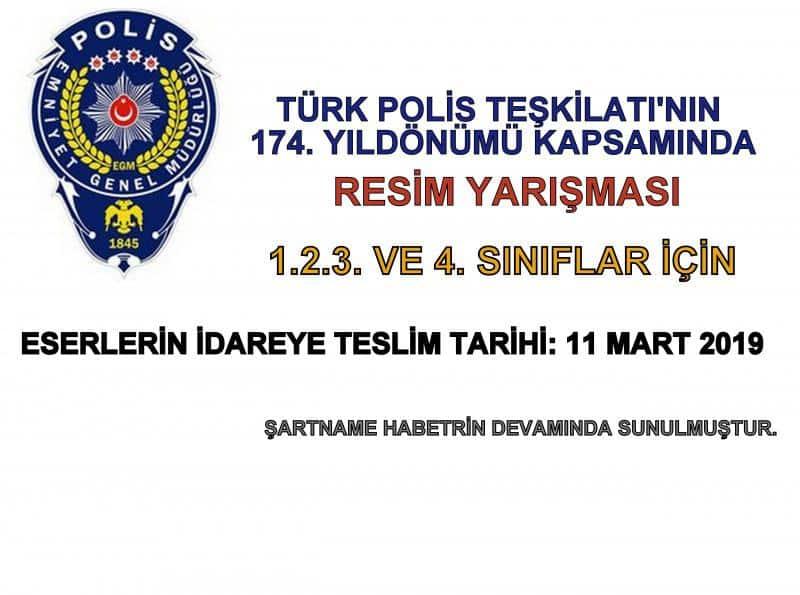 Turk Polis Teskilatinin 174 Ylldonumu Konulu Resim Yarismasi